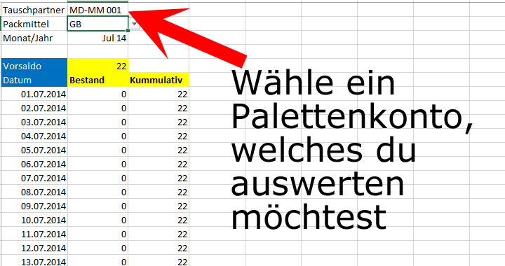 palettenverwaltung excel palettenkonto auswerten