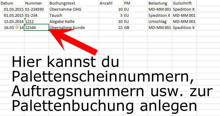 palettenverwaltung excel palettenkonto nummern