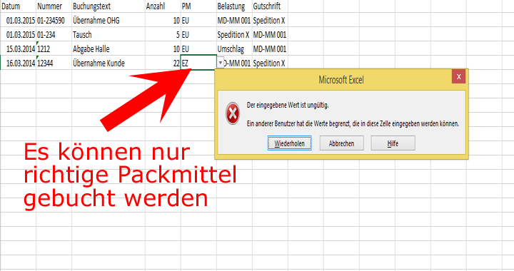 palettenverwaltung fehler palettentyp